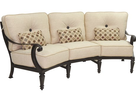 Castelle Bellagio Deep Seating Cast Aluminum Crescent Sofa with Three Kidney Pillows