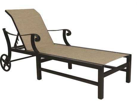 Castelle Bellagio Sling Cast Aluminum Adjustable Chaise Lounge with Wheels