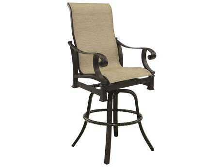 Castelle Bellagio Sling Cast Aluminum High Back Swivel Bar Stool