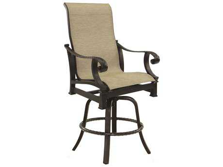 Castelle Bellagio High Cast Aluminum Sling High Back Swivel Counter Stool