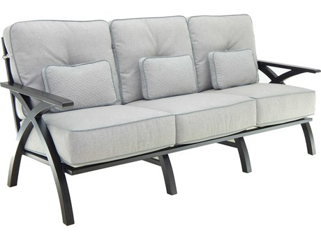 Castelle Ventura Deep Seating Cast Aluminum Cushion Sofa with Three Pillows