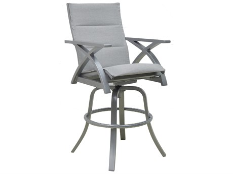 Castelle Ventura Sling Cast Aluminum High Back Swivel Bar Stool