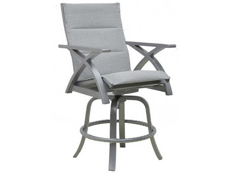 Castelle Ventura Sling Cast Aluminum High Back Swivel Counter Stool
