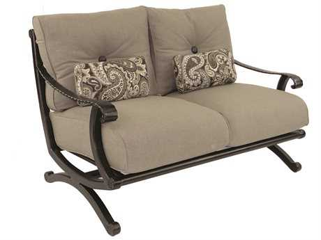 Castelle Telluride Deep Seating Cast Aluminum Loveseat with Two Kidney Pillows