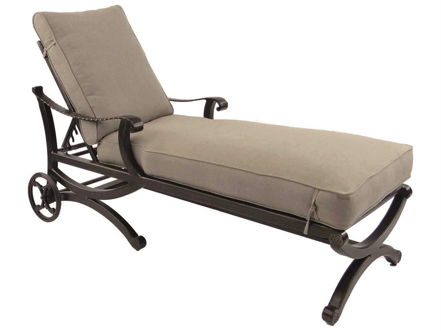 Castelle telluride cushion cast aluminum adjustable chaise for Aluminum chaise lounge with wheels