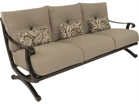 Castelle Telluride Deep Seating Cast Aluminum Sofa with Three Kidney Pillows PF2814T