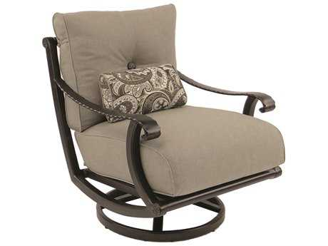 Castelle Telluride Deep Seating Cast Aluminum High Back Lounge Swivel Rocker with One Kidney Pillow