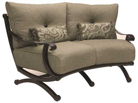 Castelle Telluride Cushion Cast Aluminum Crescent Loveseat with Two Kidney Pillows