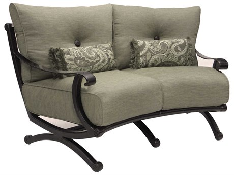 Castelle Telluride Deep Seating Cast Aluminum Crescent Loveseat with Two Kidney Pillows