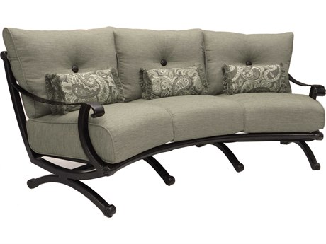 Castelle Telluride Deep Seating Cast Aluminum Crescent Sofa with Three Kidney Pillows