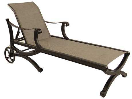Castelle Telluride Sling Cast Aluminum Adjustable Chaise Lounge with Wheels