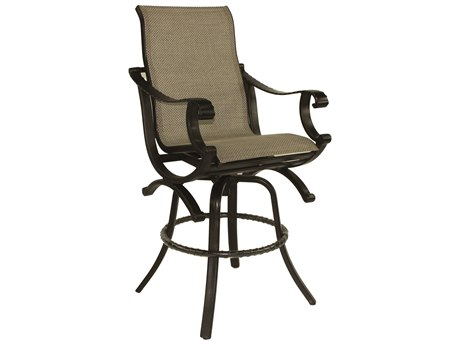 Castelle Telluride Sling Cast Aluminum High Back Swivel Bar Stool