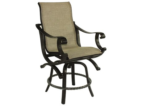 Castelle Telluride Sling Cast Aluminum High Back Swivel Counter Stool