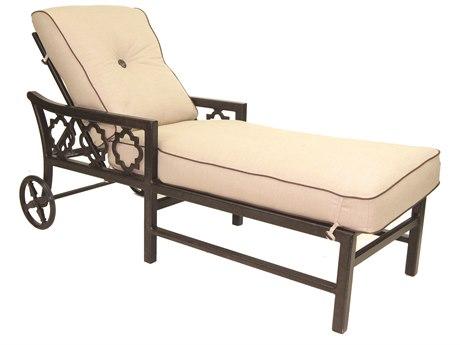Castelle Belle Epoque Cushion Cast Auminum Chaise Lounge with Wheels