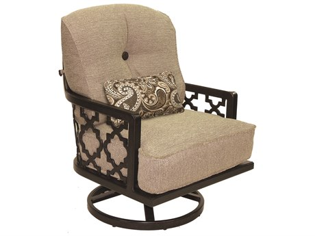 Castelle Belle Epoque Deep Seating Cast Aluminum High Back Lounge Swivel Rocker with One Kidney Pillow
