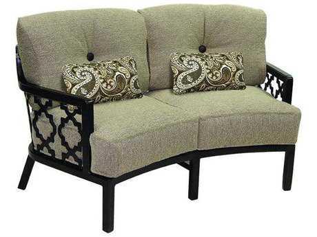 Castelle Belle Epoque Cushion Cast Auminum  Crescent Loveseat with Two Kidney Pillows