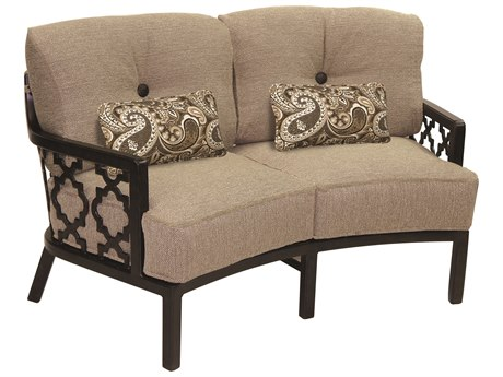 Castelle Belle Epoque Deep Seating Cast Aluminum Crescent Loveseat with Two Kidney Pillows