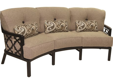 Castelle Belle Epoque Deep Seating Cast Aluminum Crescent Sofa with Three Kidney Pillows