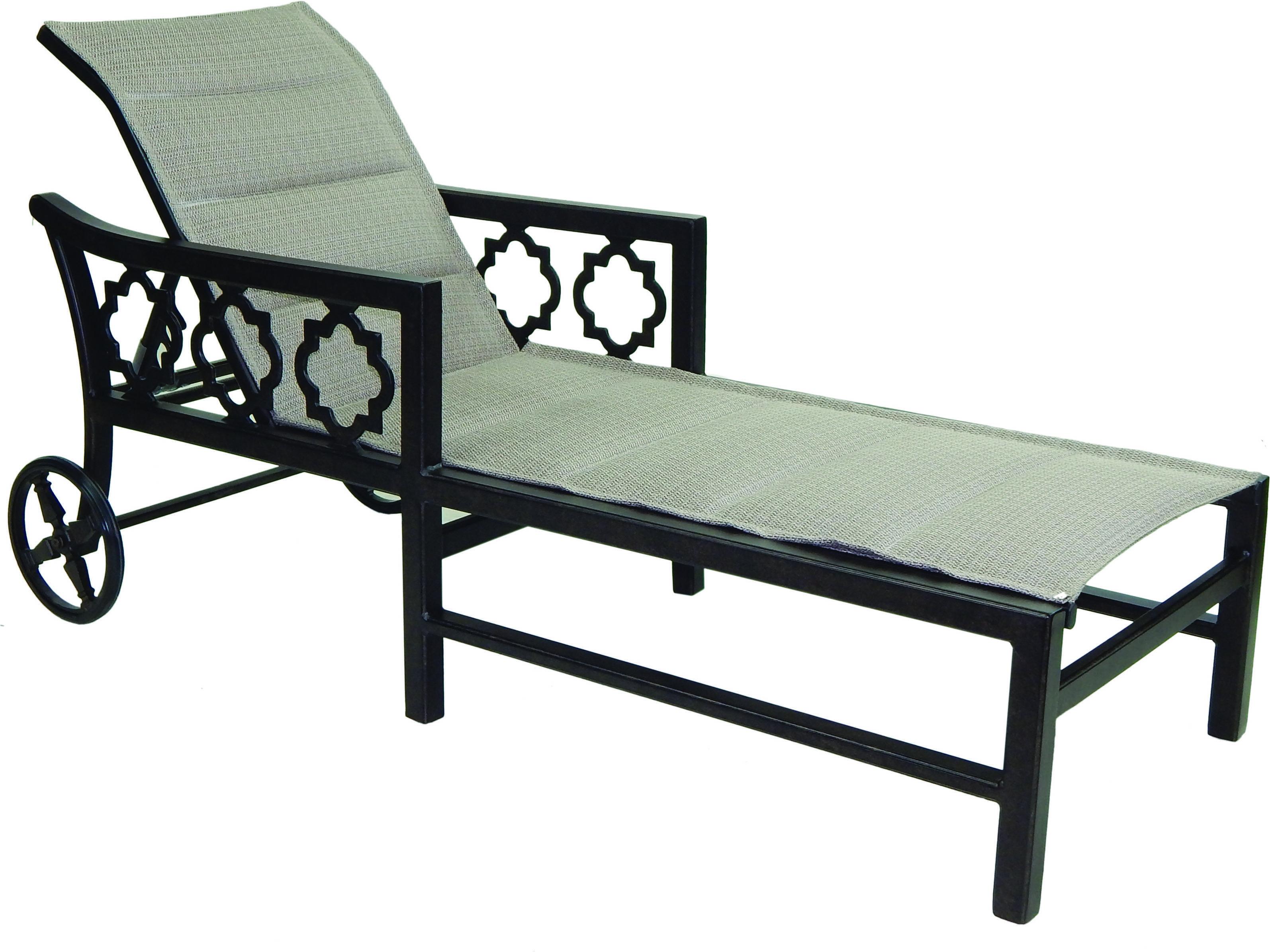 Castelle belle epoque sling cast auminum adjustable chaise for Cast aluminum chaise lounge with wheels