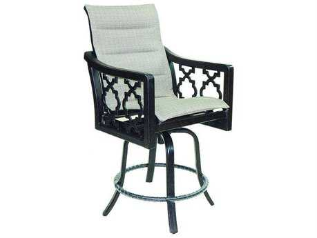 Castelle Belle Epoque Sling Cast Auminum High Back Swivel Counter Stool