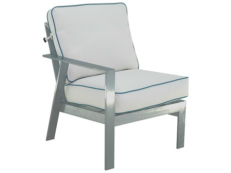 Castelle Trento Sectional Cast Aluminum Cushion Right Arm Lounge Unit
