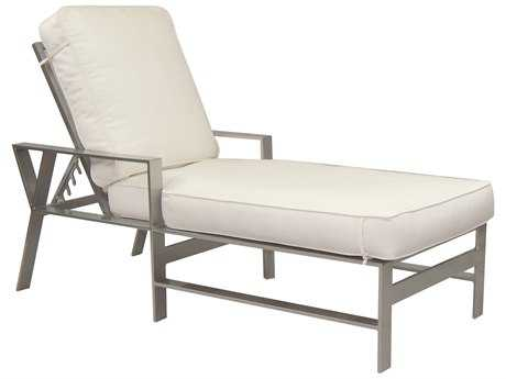 Castelle Trento Cushion Dining Cast Aluminum Adjustable Chaise Lounge with Wheels
