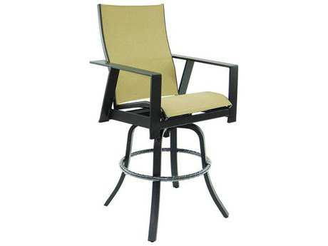 Castelle Trento Sling Cast Aluminum High Back Swivel Bar Stool