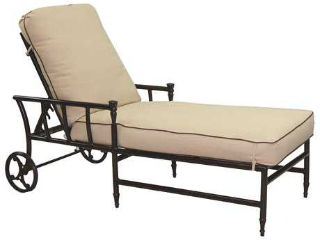 Castelle Provence Cushion Cast Aluminum Adjustable Chaise Lounge with Wheels