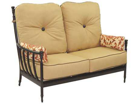 Castelle Provence Deep Seating Cast Aluminum Ultra High Back Lounge Loveseat with Two Side Pillows
