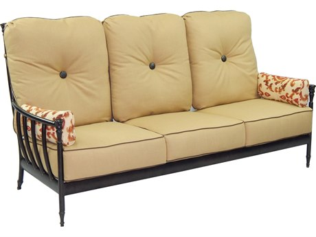 Castelle Provence Deep Seating Cast Aluminum Ultra High Back Lounge Sofa with Two Side Pillows PF3434T
