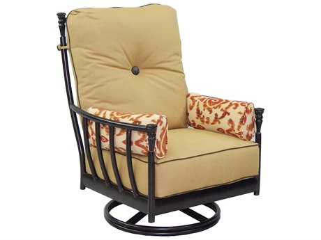 Castelle Provence Deep Seating Cast Aluminum Ultra High Back Lounge Swivel Rocker with Two Side Pillows