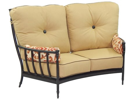 Castelle Provence Deep Seating Cast Aluminum Ultra High Back Crescent Loveseat with Two Side Pillows