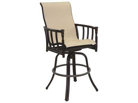 Castelle Provence Sling Cast Aluminum High Back Swivel Bar Stool