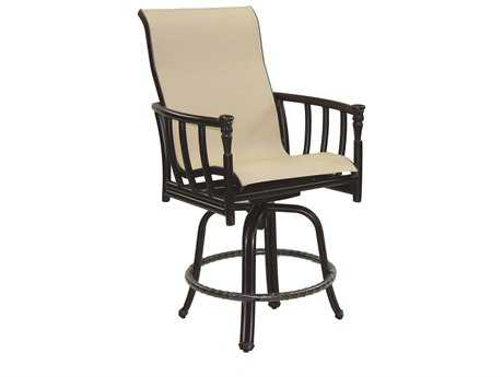 Castelle Provence Sling Cast Aluminum High Back Swivel Counter Stool