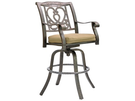 Castelle Madrid Cast Aluminum Swivel Bar Stool with Loose Seat Cushion