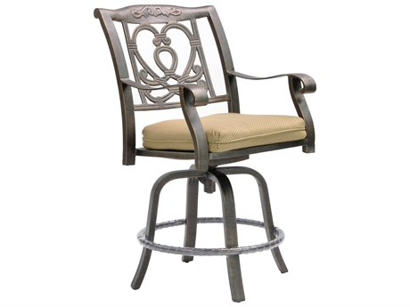 Castelle Madrid Cast Aluminum Swivel Counter Stool with Loose Seat Cushion
