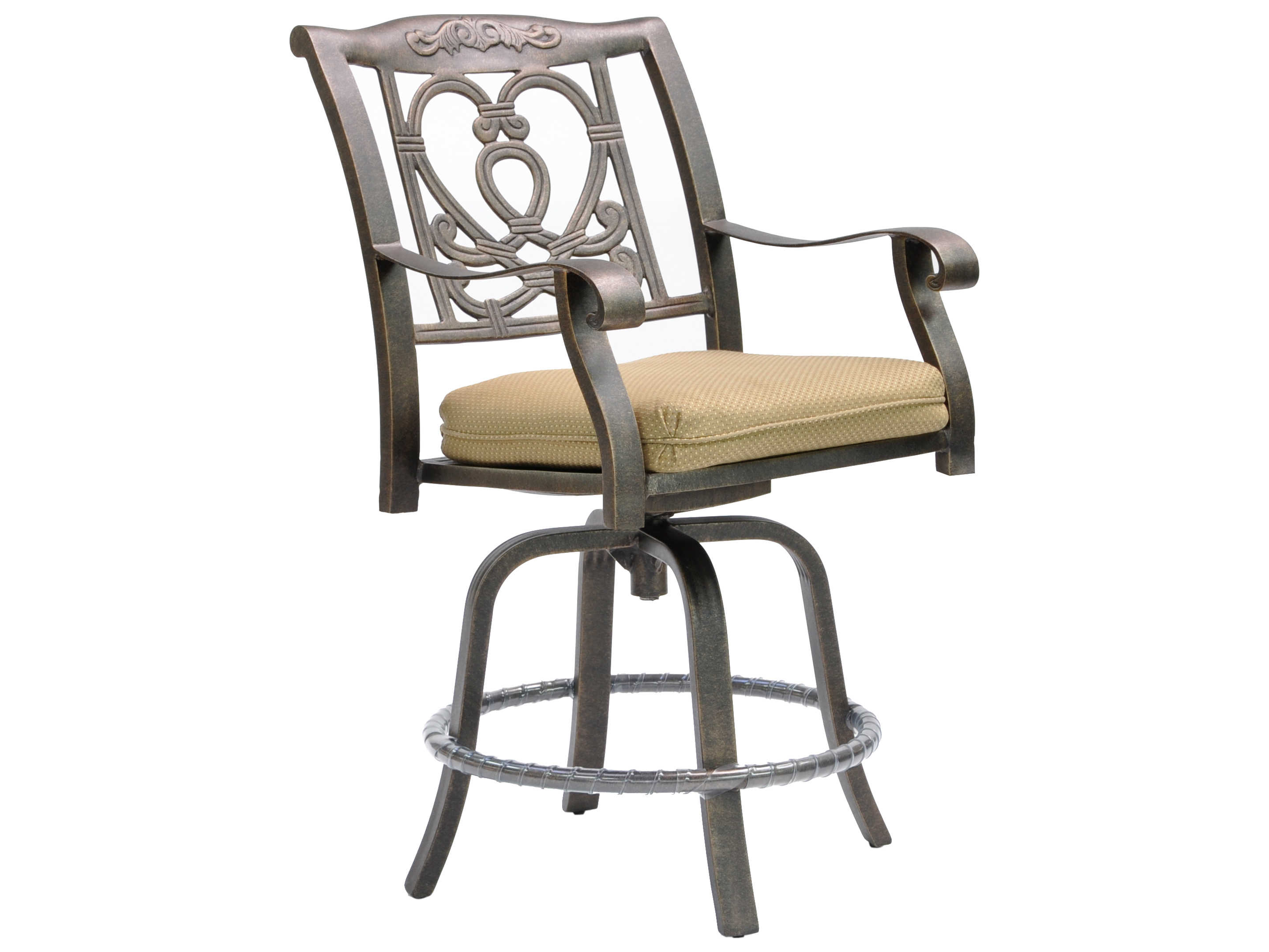 Castelle Madrid Cast Aluminum Swivel Counter Stool With