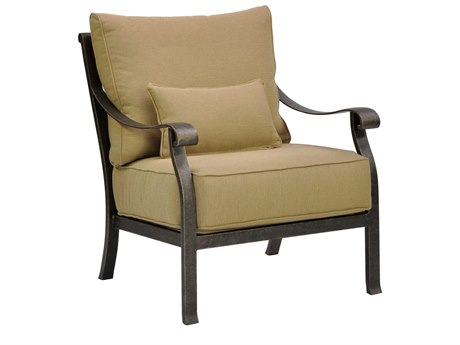 Castelle Madrid Deep Seating Cast Aluminum Lounge Chair with One Kidney Pillow