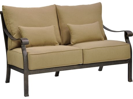 Castelle Madrid Deep Seating Cast Aluminum Loveseat with Two Kidney Pillows