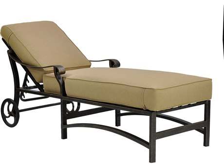 Castelle Madrid Cushion Cast Aluminum Adjustable Chaise Lounge with Wheels
