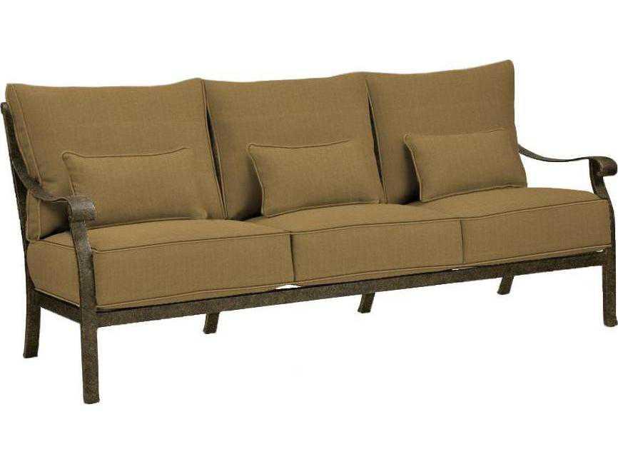 Castelle madrid deep seating cast aluminum sofa with three for Sofas a medida madrid