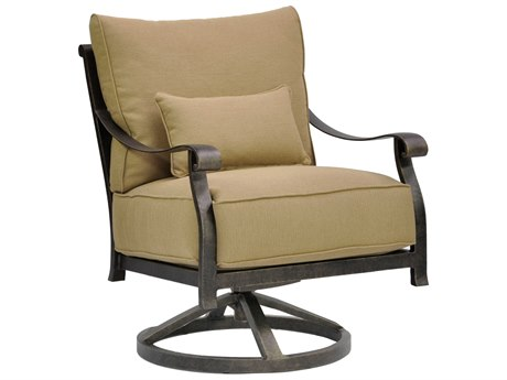 Castelle Madrid Deep Seating Cast Aluminum Lounge Swivel Rocker with One Kidney Pillow
