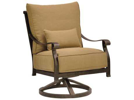 Castelle Madrid Cushion Cast Aluminum High Back Lounge Swivel Rocker with One Kidney Pillow
