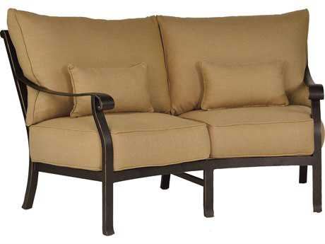 Castelle Madrid Cushion Cast Aluminum Crescent Loveseat with Two Kidney Pillows