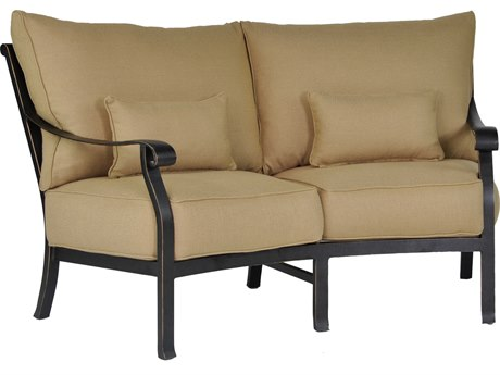 Castelle Madrid Deep Seating Cast Aluminum Crescent Loveseat with Two Kidney Pillows