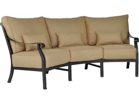Castelle Madrid Deep Seating Cast Aluminum Crescent Sofa with Three Kidney Pillows PF3844T