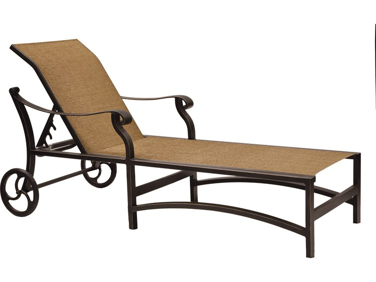 Castelle madrid sling cast aluminum adjustable chaise for Cast aluminum chaise lounge with wheels