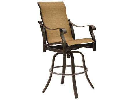 Castelle Madrid Sling Cast Aluminum High Back Swivel Bar Stool