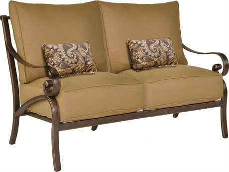 Castelle Veracruz Cushion Cast Aluminum  Loveseat with Two Kidney Pillows