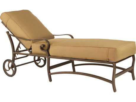 Castelle Veracruz Cast Aluminum Cushion Adjustable Chaise Lounge with Wheels PF4012T
